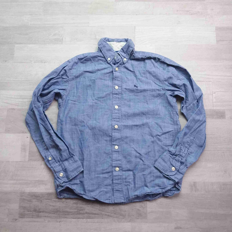 košile dl.rukáv modrá riflová HM vel 164  f88e197664