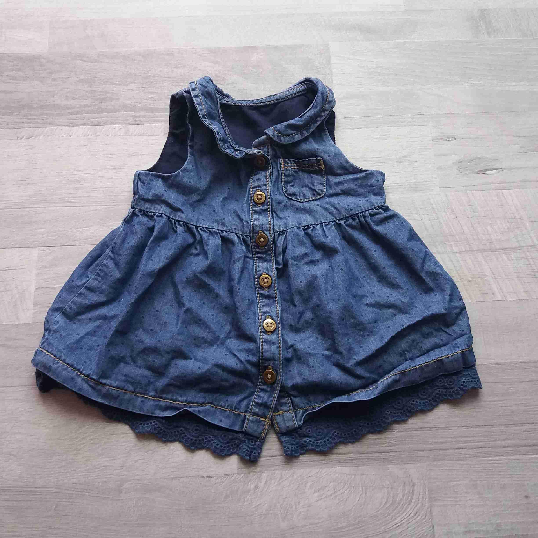 c8e17d09b1c5 šaty riflové tmavě modré s puntíkem vel 62