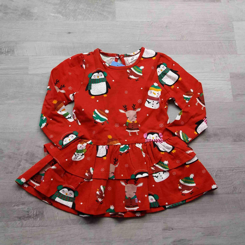 f2f3ac0ee89 šaty červené se zimním potiskem vel 74
